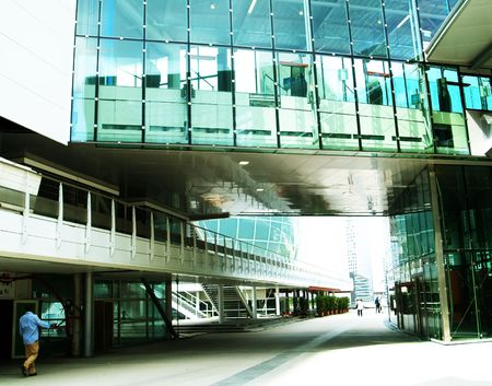 horizontals: Street between office buildings Stock Photo