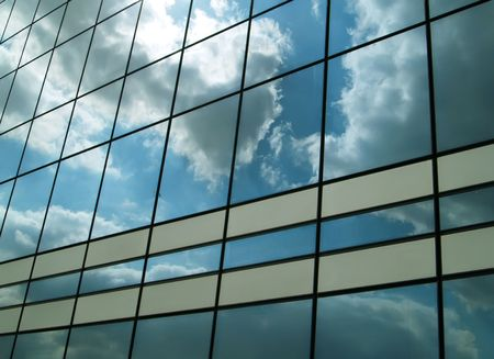 workspaces: Office building and blue sky Stock Photo