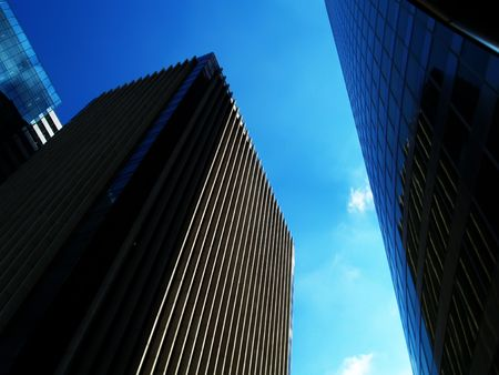 workspaces: Office buildings over blue sky