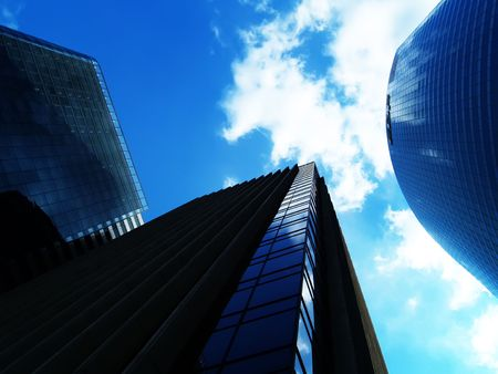 Office buildings over blue sky photo