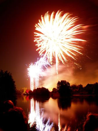 Fireworks and reflection on water Stock Photo - 514344