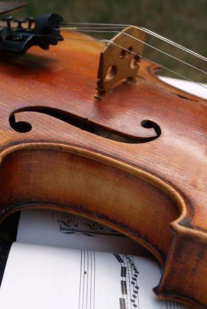 melodies: Closeup of a violin Stock Photo
