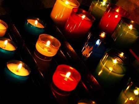 faiths: Candles in a church