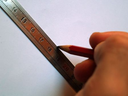 workspaces: Close up of a ruler Stock Photo