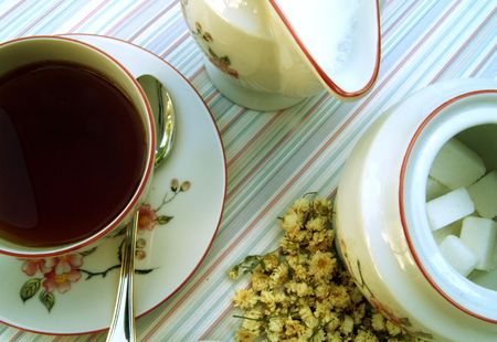 Cup of tea with sugar and milk Stock Photo - 514017