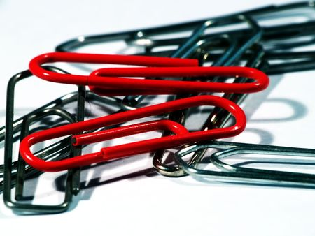 workspaces: Close up of a few paper clips Stock Photo