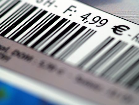 printed matter: Close up of a magazine price tag