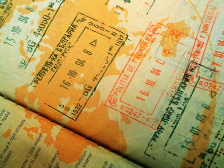 overseas visa: Close up of a stamped passport
