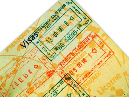 permits: Close up of a stamped passport
