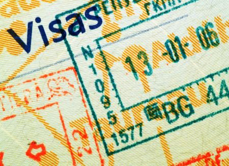 крупные планы: Close up of a stamped passport