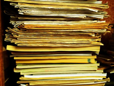 workspaces: Close up of a pile of folders Stock Photo