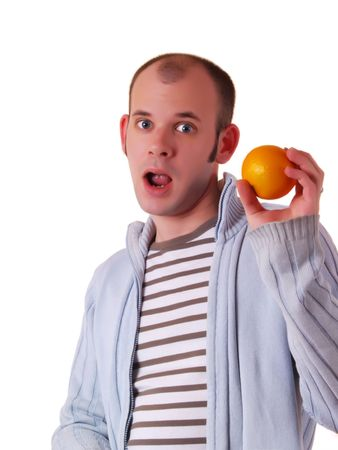 Young man (could be a student) holding an orange photo