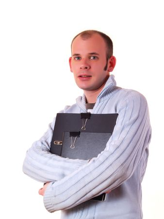 good looking man: Young good looking man holding a folder