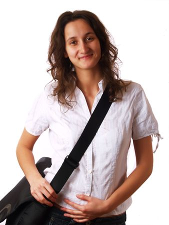 Young woman wearing a laptop bag and smiling Stock Photo - 2510855