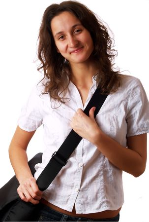 Young woman wearing a laptop bag and smiling Stock Photo - 2510857