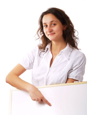 Young woman holding and showing a wite board, with a copy-space photo