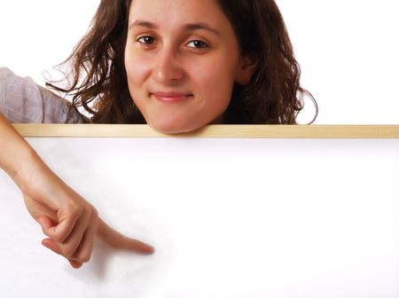 convinced: Young woman holding and showing a wite board, with a copy-space