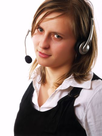 Cute customer representative wearing a headset photo