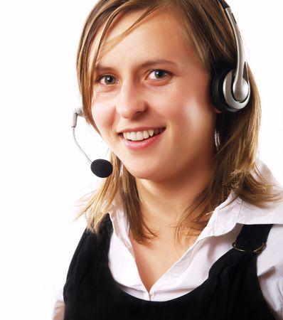 convinced: Pretty customer representative wearing a headset