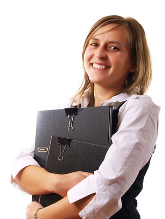 Young businesswoman holding two folders photo