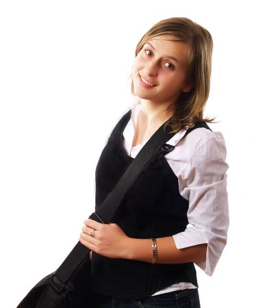 Young woman wearing a laptop bag and smiling photo
