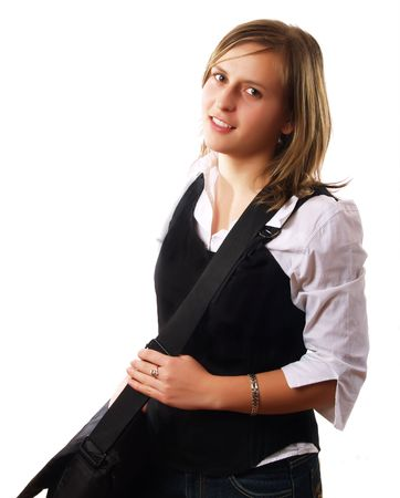 Young woman wearing a laptop bag and smiling Stock Photo - 2510985