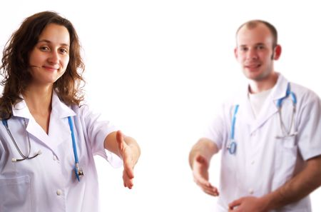 introducing: Two doctors giving a handshake