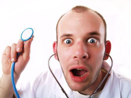 Young doctor using a stethoscope photo