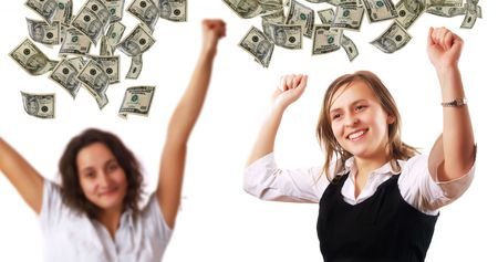Happy young women and dollar banknotes photo