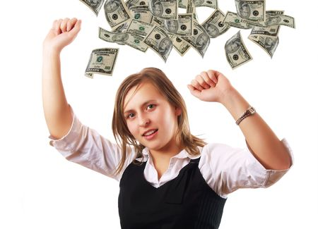Happy young woman and dollar banknotes photo