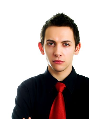 Young businessman thinking  on a white background photo