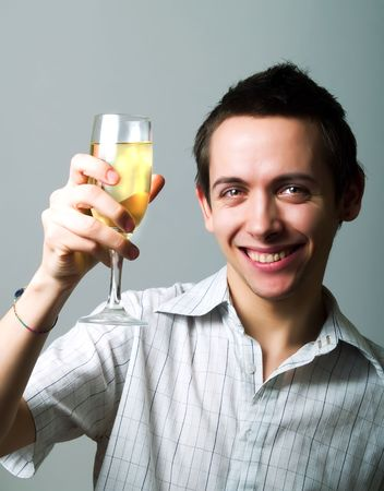 champaign: Young man drinking champaign
