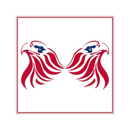 Two Proud eagle head. Color version Vector illustration.
