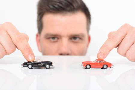 car retailer: Man with car Stock Photo