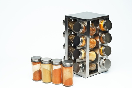 a jar stand: A set of kitchen spices