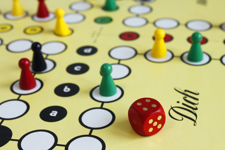 game play figure boardgame luck angry Stock Photo