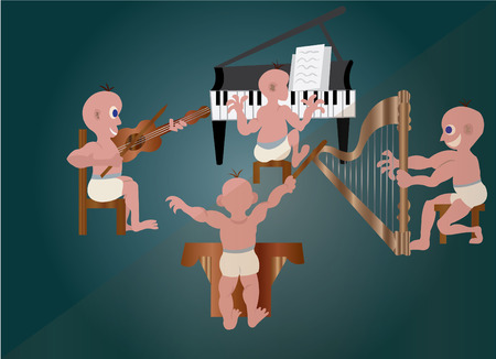 Kids performing in an orchestra Illustration