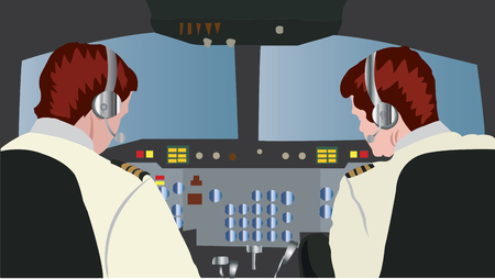 An experienced pilot inside a cockpit with a co-pilot flying a big jet