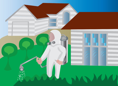 A homeowner spraying his backyard with insecticide