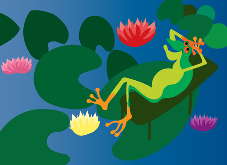 bask: A frog relaxing on a water lily in a pond