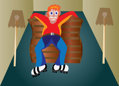 bask: A busy boy sitting on a fashionable furniture in a room