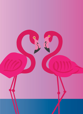 Flamingos wadding in shallow waters Illustration