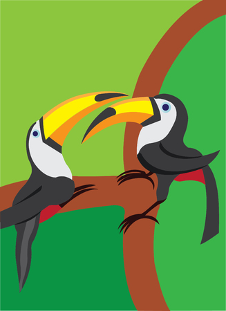 Two toucan perching on a tree branch