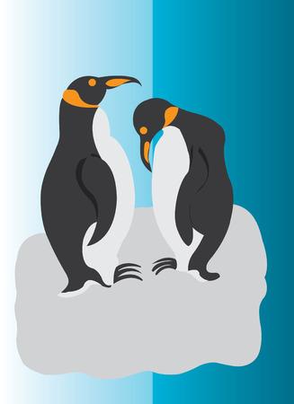 Penguins standing on a floating iceberg Illustration