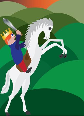 cavalryman: A king to be boy mounts a horse