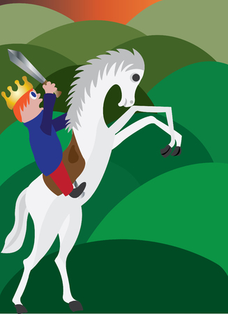 A king to be boy mounts a horse