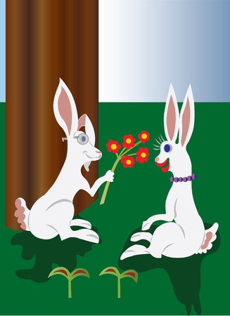 hottie: A bunny showing a bunch of flowers to its lover