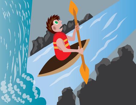 A junior enjoying himself in white-water rafting kind of sport Illustration