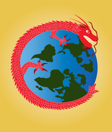 A Chinese dragon encircling the planet