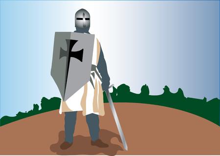 Un chevalier Templar armé à la dent prêt pour le combat